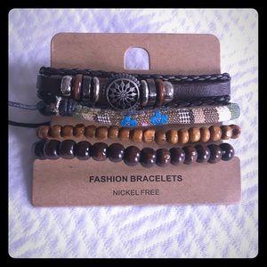 💎 Set of Stylish Leather & Wood Fashion Bracelets